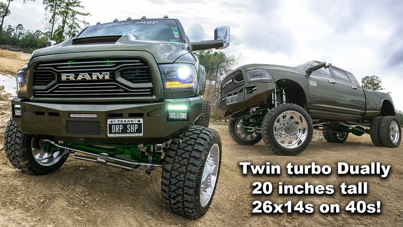 BEST DIESEL TRUCK!! TWIN TURBO DUALLY ON 20 INCH AIRBAG LIFT WITH 26X14 SUPER SINGLES ON 40S!