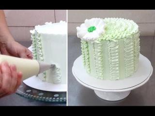 Как сделать рюши на торте из белкового крема пошагово