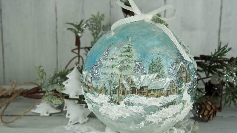 Χριστουγεννιάτικη μπάλα με decoupage - Christmas ball with decoupage