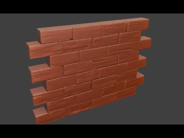 Blender2.8 Stylised wall Speedsculpt timelapse
