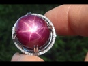 Estate Certified Natural Star Ruby Diamond 14k White Gold Cocktail Ring - C772