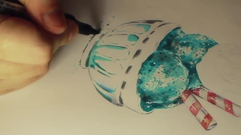 Иллюстрация спиртовыми маркерами Как рисовать десерт