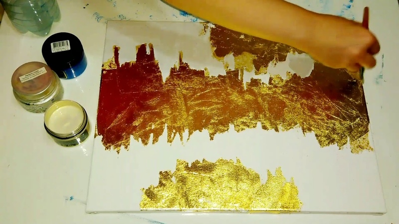 Золото в картине. Золочение поталью. Картина в современном стиле)