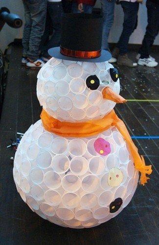 Как сделать снеговика со стаканчиков