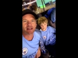 Neil Patrick Harris wearing a City shirt at a City game and says Go Manchester United! mufc