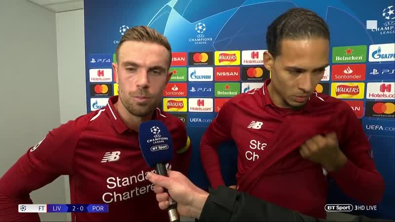 Jordan Henderson and Virgil Van Dijk react to Liverpool 2-0 Porto