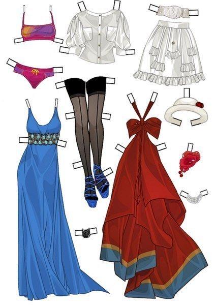 Бумажные куклы с нарядами (10 фото) - картинка