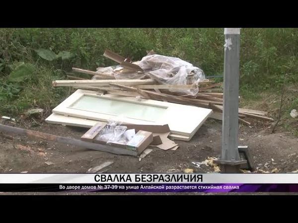 Во дворе домов № 37 39 на улице Алтайской разрастается стихийная свалка