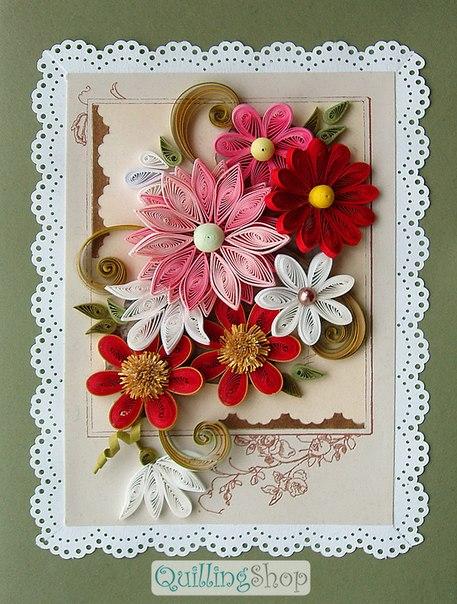 Квиллинг объемные цветы красные маки