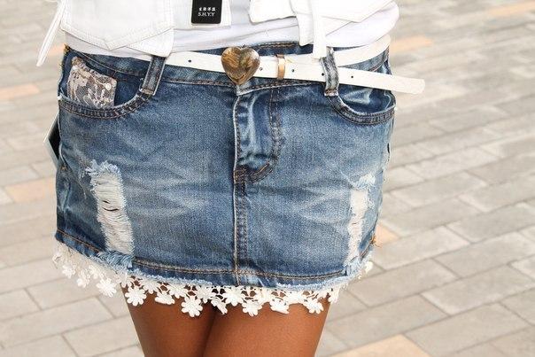 Джинсовая юбка своими руками фото