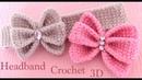 Diadema tejida a Crochet moño mariposa 3D en punto tunecino tejido tallermanualperu