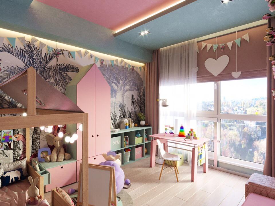 Зефирно-розовая детская для девочки.