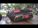 Водитель вышел невредимым из разорванной пополам Lamborghini Gallardo