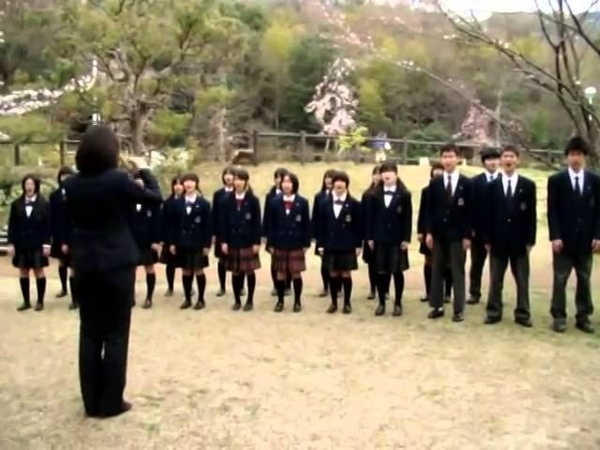 Японский школьный хор поёт старую армянскую песню перед премьер министром японии