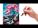 How to paint a Simple Cherry Tree Waterfall using Q-Tips The ART SHERPA