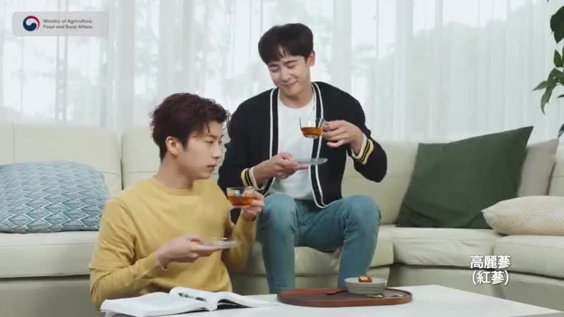 2PM NICHKHUN WOOYOUNG promotion shooting for Korean ginseng