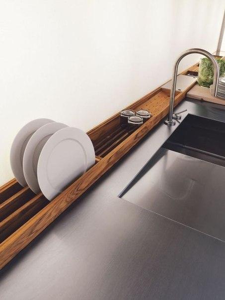 Встроенная деревянная сушка для посуды… (1 фото) - картинка