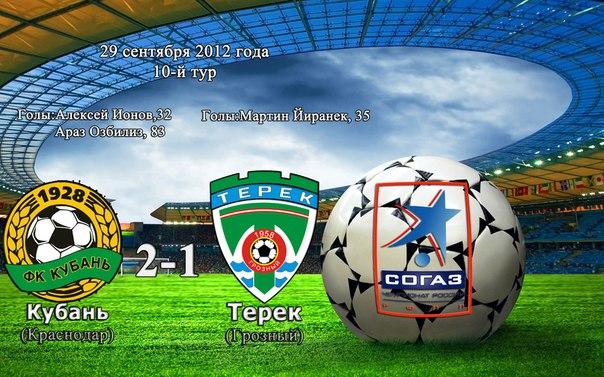 """Кубань"" — ""Терек"" — 2:1. Очередная победа Красножана."