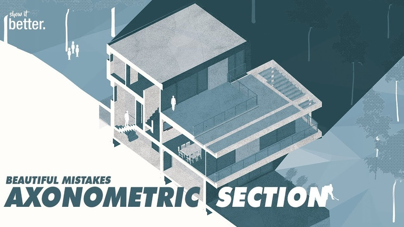 Architectural Axonometric Section Illustration or The results of Making Mistakes