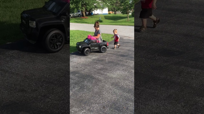 Mom takes sons truck for a test drive