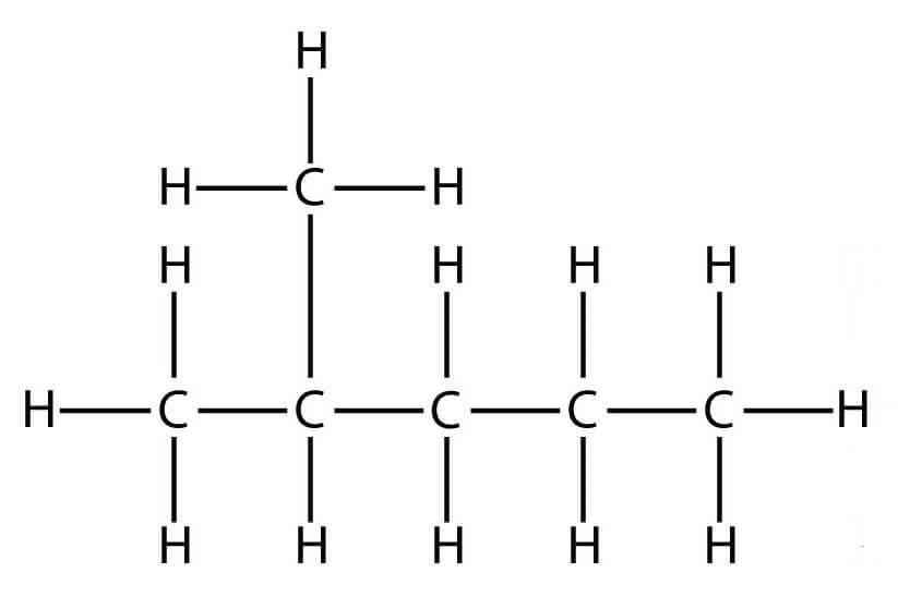 строение молекулы 2-метилпентана изогексана