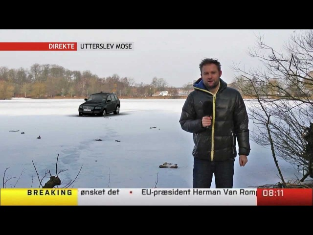 Bil går gennem isen på live tv Car Goes through Ice On Live TV