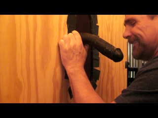 Throating a big dildo at my gloryhole in-between the real thing