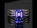 14K White Gold Emerald Cut Tanzanite Ring