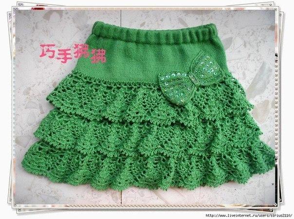 Вязаная юбка крючком и спицами. (5 фото) - картинка