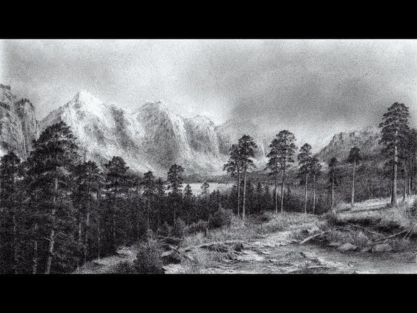 Drawing Scenery of Mountains and Trees with Pencil | Time Lapse