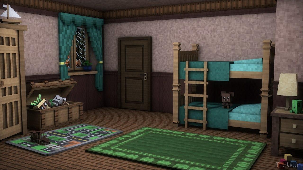 Minecraft art childrens room minecraft blog for Bedroom ideas in minecraft