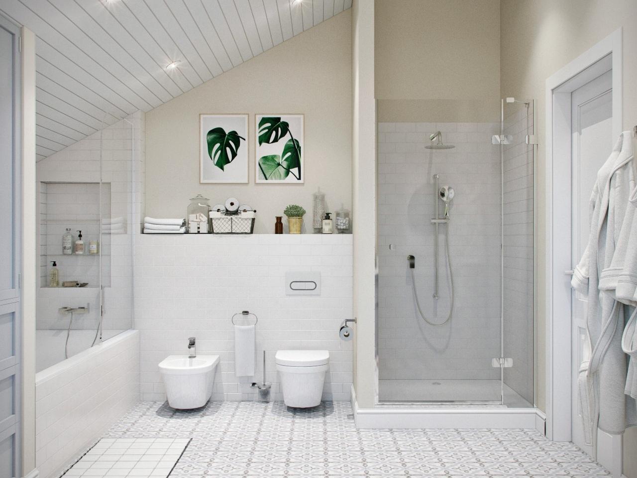 Просторная ванная комната для семейной пары, 14,3 кв.