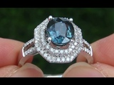 AIGS Certified UNHEATED VS Natural Blue Sapphire Diamond 14k White Gold Engagement Ring - A141680