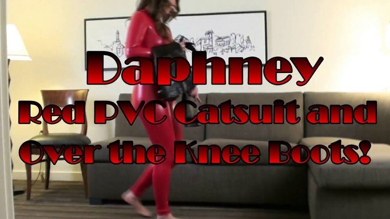 Feet worship Daphney Red Catsuit Over Knee Boots feet worship