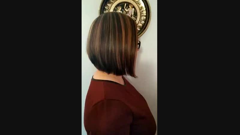 боб каре и окрашивание волос