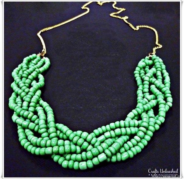 Плетеное ожерелье своими руками (3 фото) - картинка