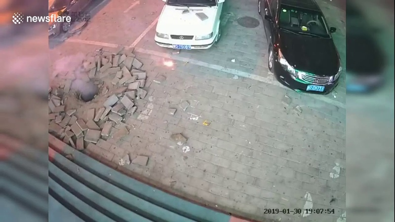 Manhole explodes after boy tries to put lit fireworks through the cover