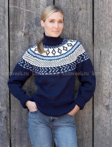 Пуловер с круглой кокеткой. (2 фото) - картинка