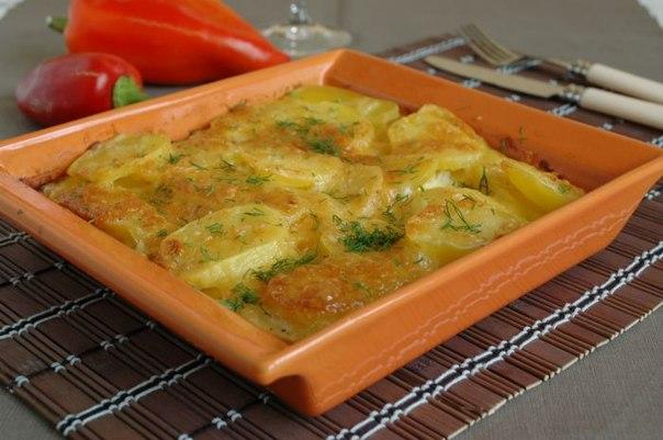 Картофельная запеканка в духовке в сливках
