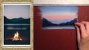 Пастель для начинающих Урок 4 рисуем работу Костер у горного озера