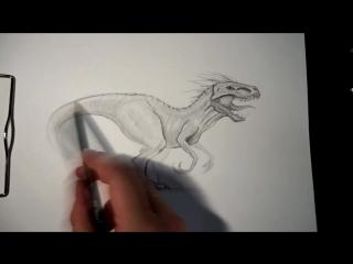 Как нарисовать динозавра Индоминус Рекс (ИндоРаптор) карандашом поэтапно