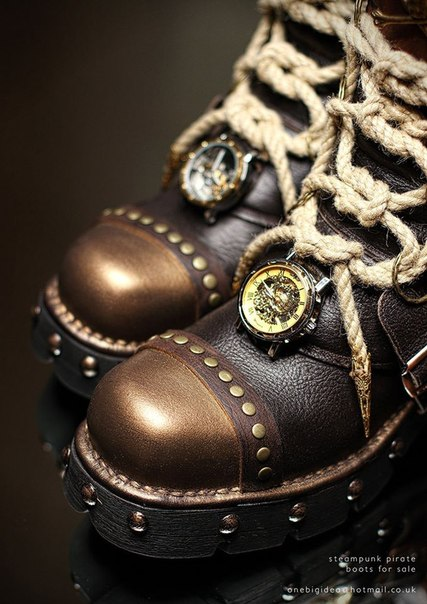 Mens Gothic Boots  Steampunk Boots  Dark Fashion Clothing