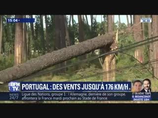 La tempête Leslie a frappé le Portugal avec des vents à plus de 170 km_⁄h