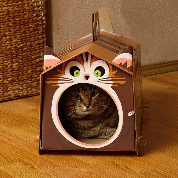 Кошачьи домики из коробок