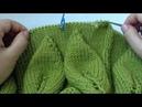Зеленый свитер. Листья на ветке. МК 5