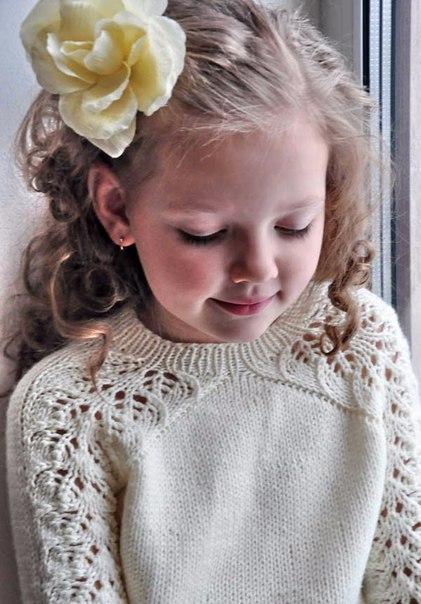 Детский вязаный пуловер (6 фото)