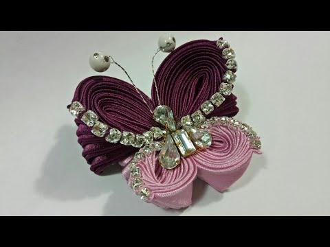 102 ) Tutorial kupu-kupu diamond modifikasi lipat ubur-ubur || Unique Ribbon Butterfly