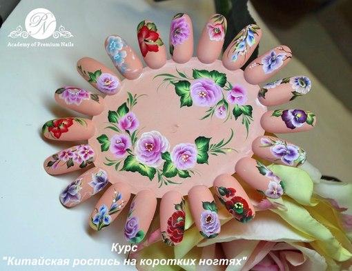 Китайская роспись на коротких ногтях