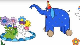 Раскраска - Деревяшки - Зернышко - серия 12 - Учим цвет - мультики для детей