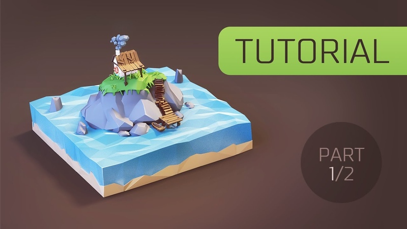 [Tutorial] Creating Low Poly (stylised) Cartoon Hut on the Island in Blender 3d [Part 1]